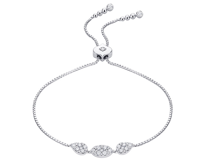 Sara Weinstock Reverie collection round brilliant cut diamond bracelet in 18k white gold.