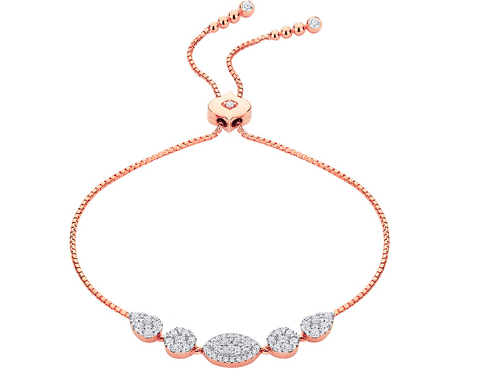 Sara Weinstock Reverie collection round brilliant cut diamond bolo bracelet in 18k rose gold.