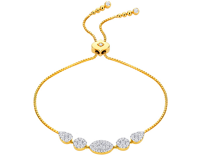 Sara Weinstock Reverie collection round brilliant cut diamond bracelet in 18k yellow gold.
