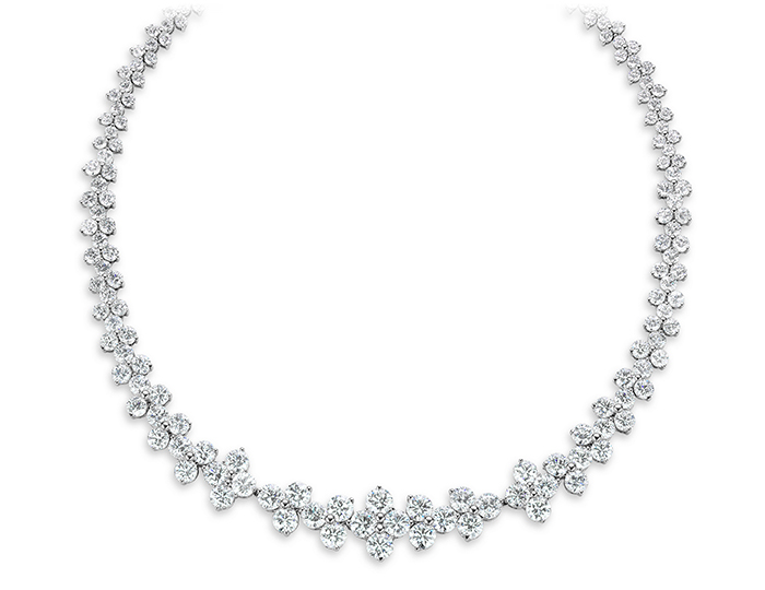 Ahee Signature Collection necklace with 183 D-color round brilliant cut diamonds in platinum.