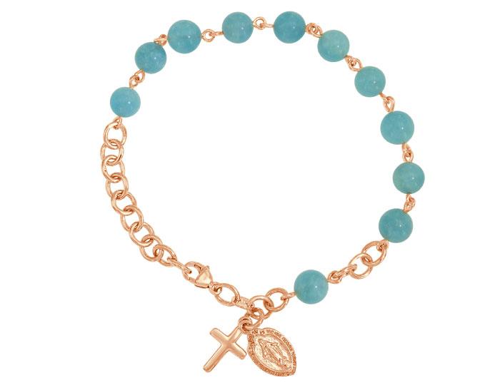 Handmade aquamarine rosary bracelet in 18k rose gold.