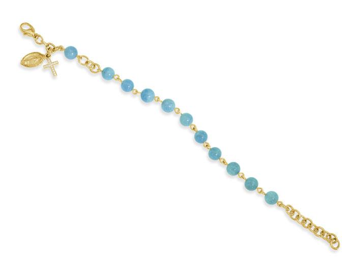 Handmade aquamarine rosary bracelet in 18k yellow gold.