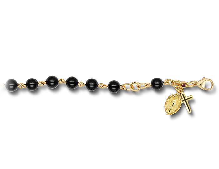 Handmade 6.0mm black onyx rosary bracelet in 18k yellow gold.