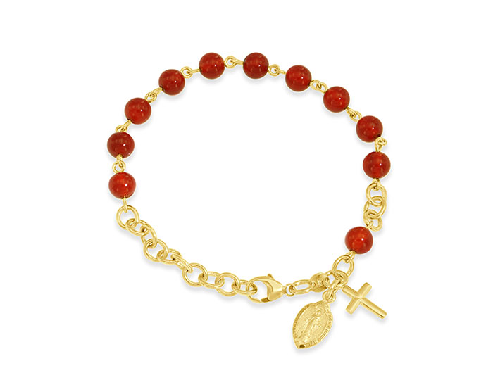 Handmade carnelian rosary bracelet in 18k yellow gold.