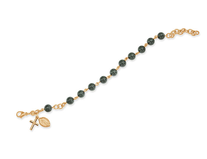 Handmade hematite rosary bracelet in 18k rose gold.