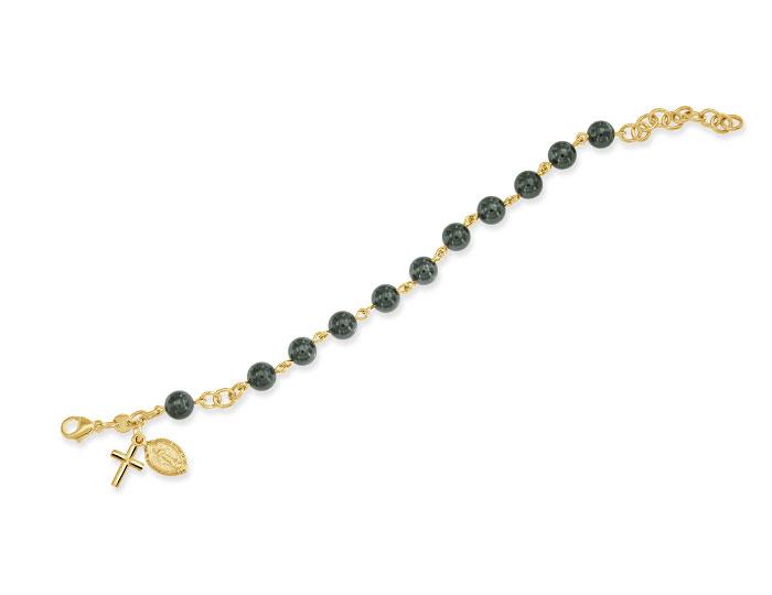 Handmade hemitite rosary bracelet in 18k yellow gold.