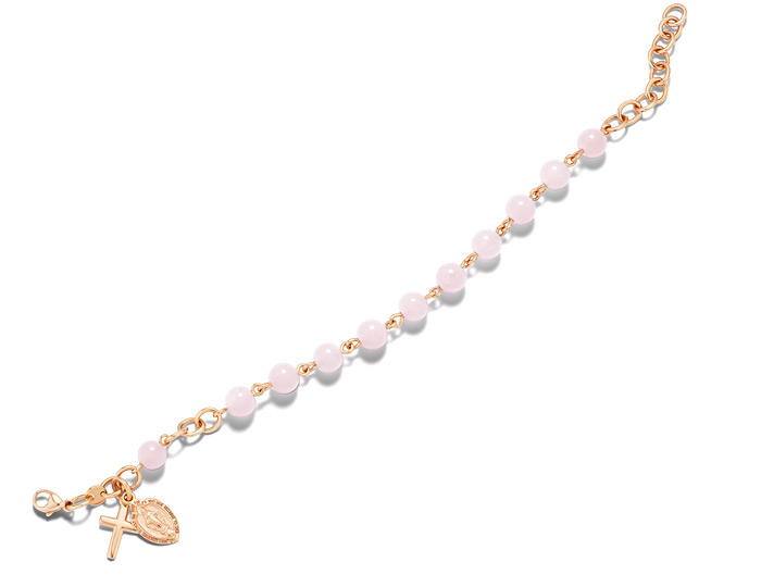 Handmade rose quartz rosary bracelet in 18k rose gold.