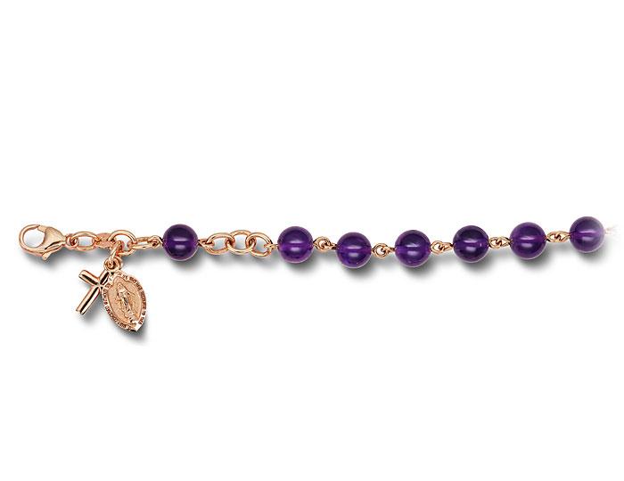 Handmade amethyst rosary bracelet in 18k rose gold.