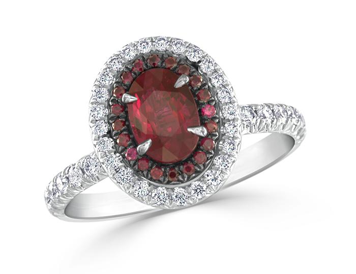 Ruby and round brilliant cut diamond ring in platinum.