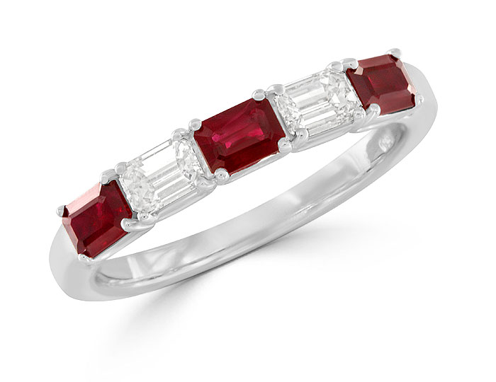 Emerald cut ruby and emerald cut diamond ring in 18k white gold.