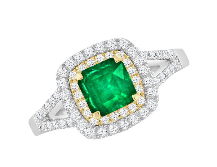 Square cut emerald and round brilliant cut diamond ring in 18k white and yellow gold.