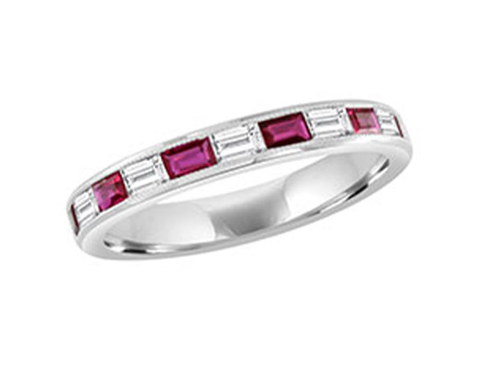 Baguette cut ruby and baguette cut diamond ring in 18k white gold.