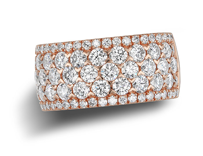 Round brilliant cut diamond cocktail ring in 18k rose gold.