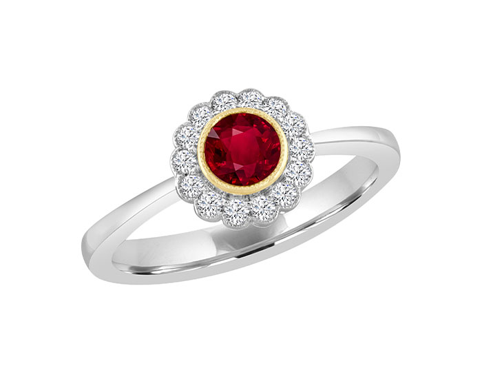 Ruby and round brilliant cut diamond ring in 18k white and yellow gold.