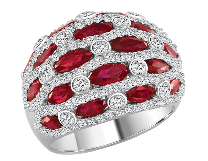 Marquise shape ruby and round brilliant cut diamond ring in 18k white gold.