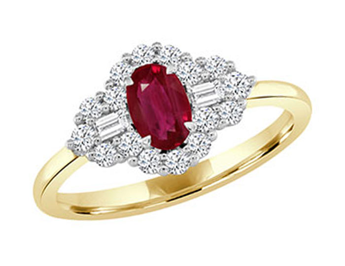Oval ruby, baguette cut diamond and round brilliant cut diamond ring in 18k yellow and white gold.
