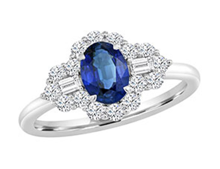 Oval sapphire, baguette cut diamond and round brilliant cut diamond ring in 18k white gold.