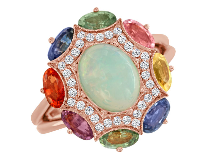 Opal, fancy colored sapphire and round brilliant cut diamond ring in 18k rose gold.
