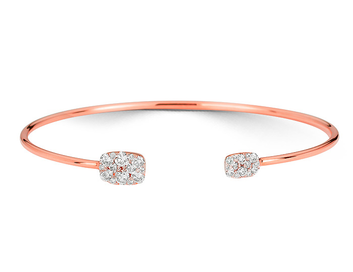 Sara Weinstock Reverie collection round brilliant cut diamond bracelet in 18k rose gold.