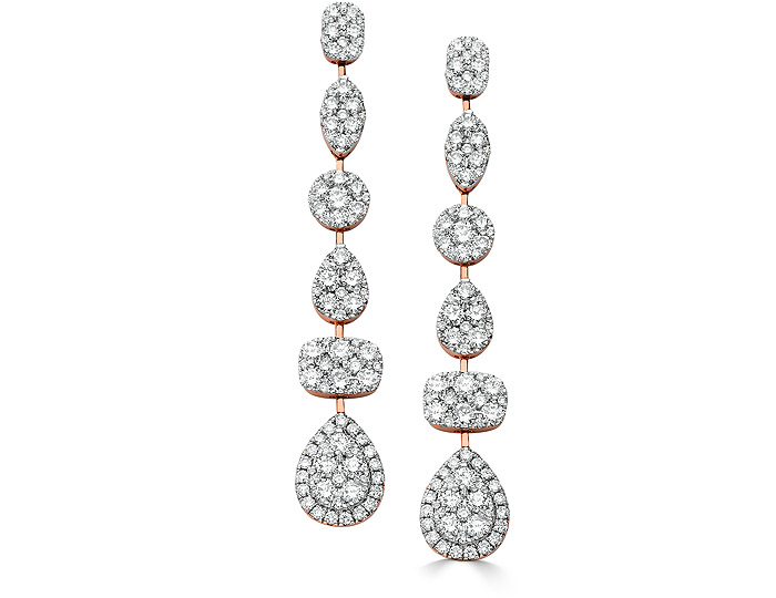 Sara Weinstock Reverie collection round brilliant cut diamond earrings in 18k rose gold.
