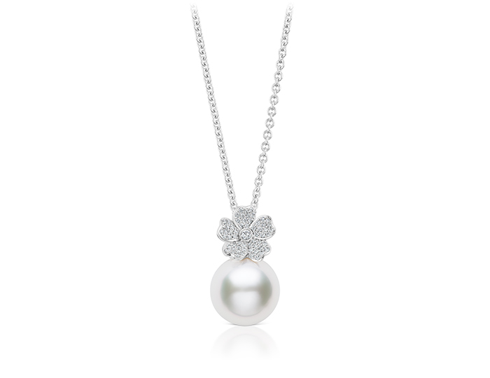 Mikimoto round brilliant cut diamond and white south sea pearl necklace.