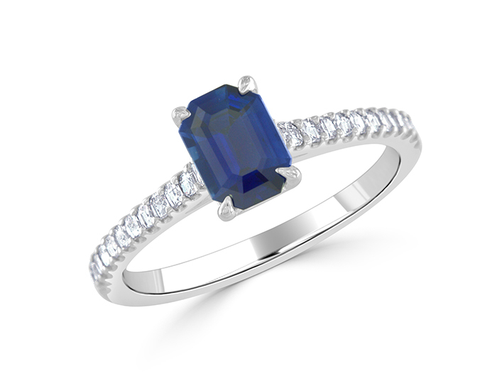 Bez Ambar sapphire and blaze cut diamond ring in 18k white gold.
