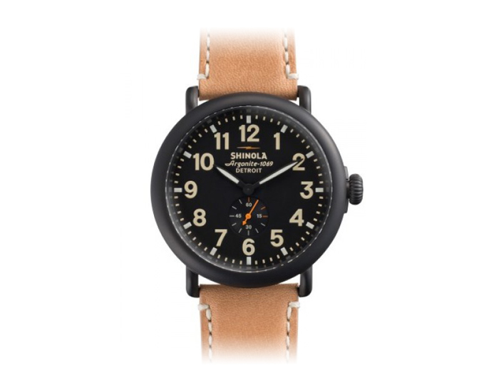 Shinola Runwell 47mm PVD gunmetal finish leather strap watch.