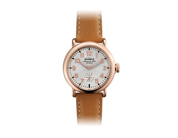 Shinola Runwell 41mm PVD rose gold finish stainless steel leather strap watch.