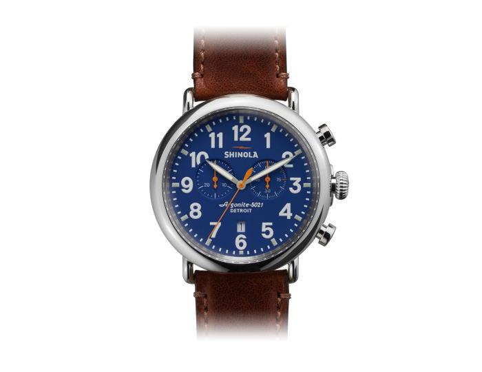 Shinola Runwell Chronograph 47mm stainless steel leather strap watch.