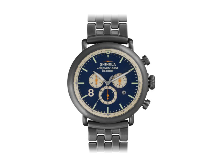 Shinola Runwell Chronograph 47mm PVD gunmetal stainless steel bracelet watch.