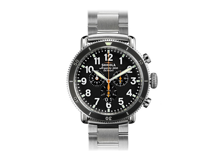 Shinola Runwell Sport Chronograph 48mm stainless steel bracelet watch.