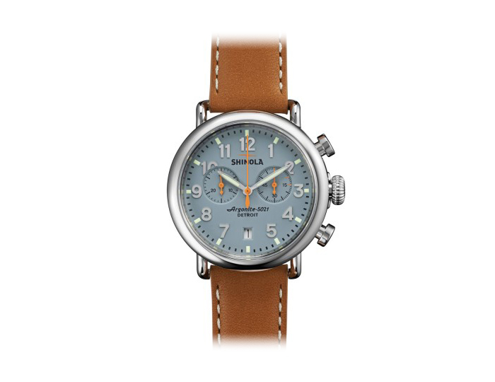 Shinola Runwell Chronograph 41mm stainless steel leather strap watch.