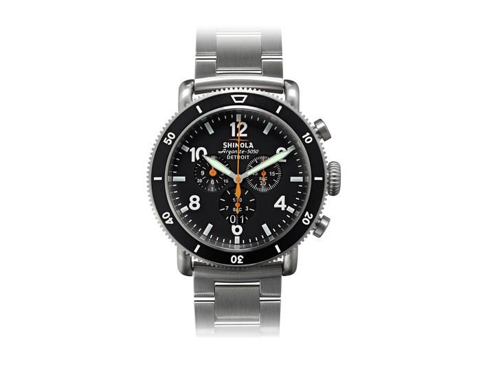 Shinola Runwell Sport Chronograph 48mm titanium bracelet watch.