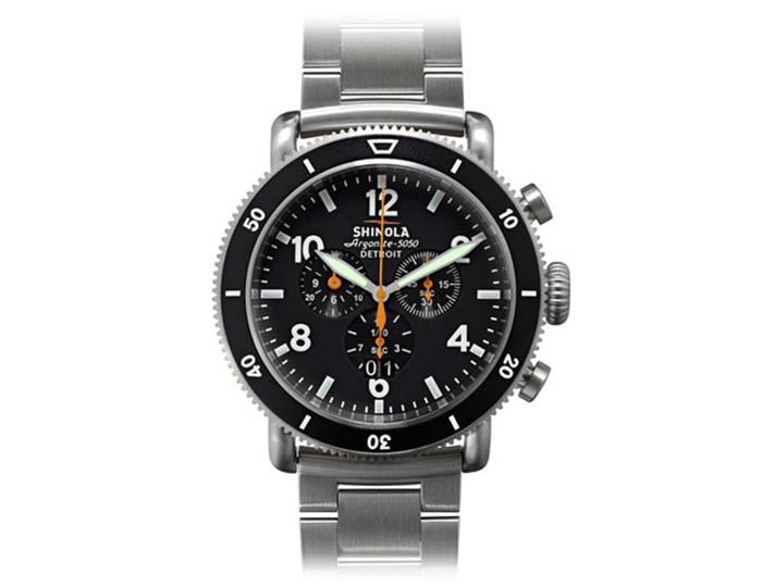 Shinola Black Blizzard Runwell Sport Chronograph 48mm titanium bracelet watch.