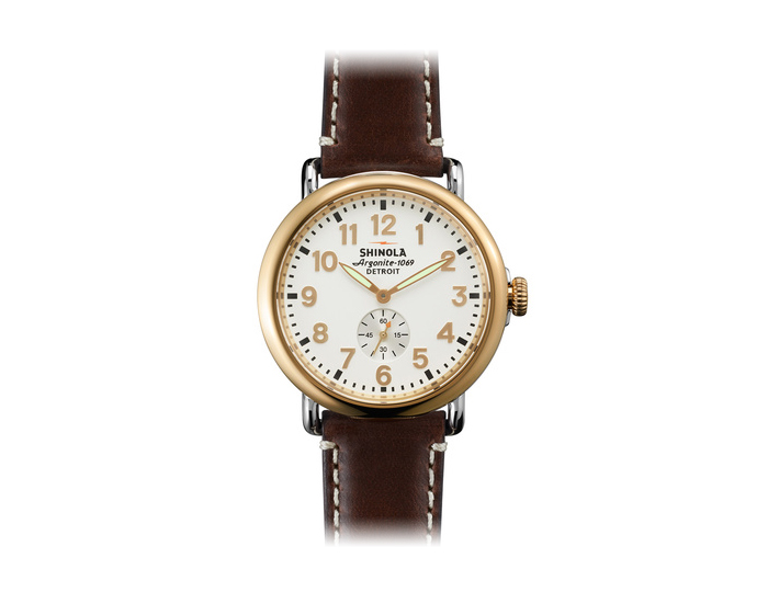 Shinola Runwell 41mm PVD gold finish and stainless steel leather strap watch.