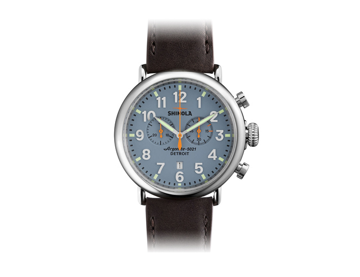 Shinola Runwell Chronograph 47mm stainless steel leather strap watch.