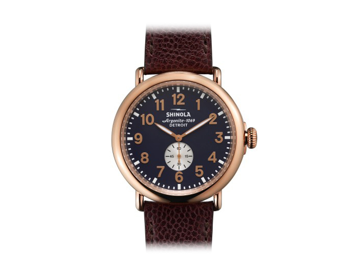 Shinola Runwell 47mm PVD rose gold finish stainless steel leather strap watch.