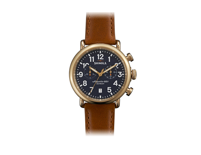 Shinola Runwell Chronograph 41mm PVD gold finish stainless steel leather strap watch.