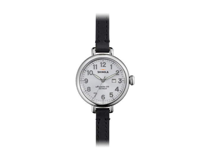 Shinola Birdy 34mm stainless steel leather strap watch.