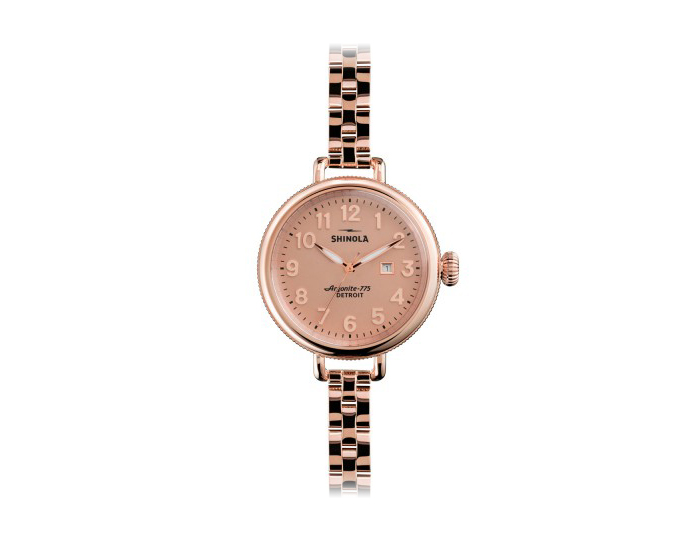 Shinola Birdy 34mm PVD rose gold finish stainless steel bracelet watch.