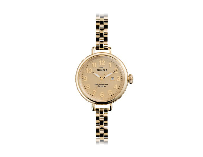 Shinola Birdy 34mm PVD gold finish stainless steel bracelet watch.