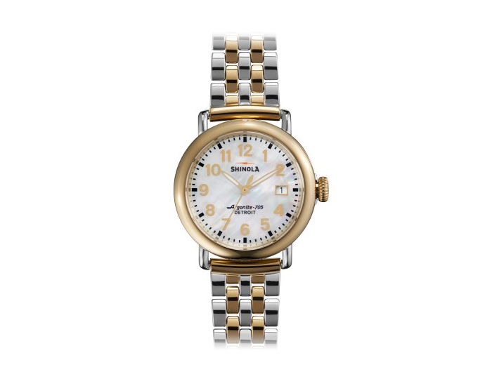 Shinola Runwell 36mm PVD gold finish and stainless steel bracelet watch.