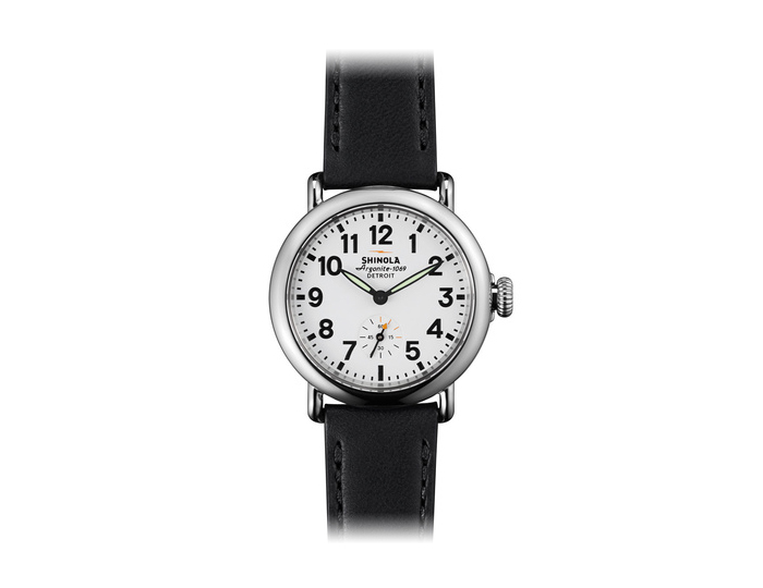 Shinola Runwell 36mm stainless steel leather strap watch.
