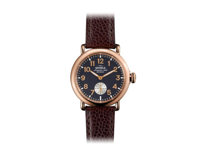 Shinola Runwell 36mm PVD rose gold finish leather strap watch.