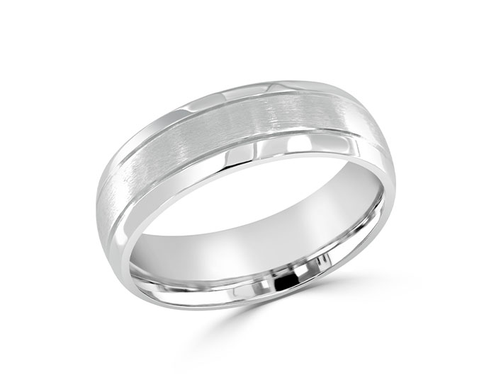 Men's 7mm wedding band in platinum.