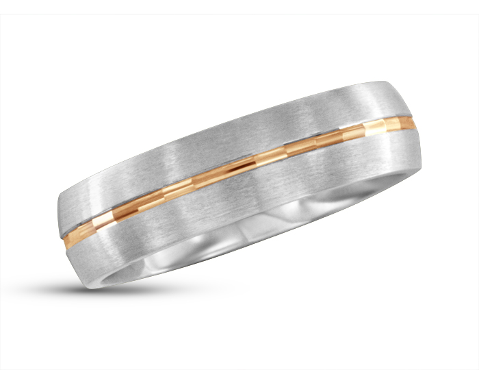 Men's wedding band in 18k rose and white gold.