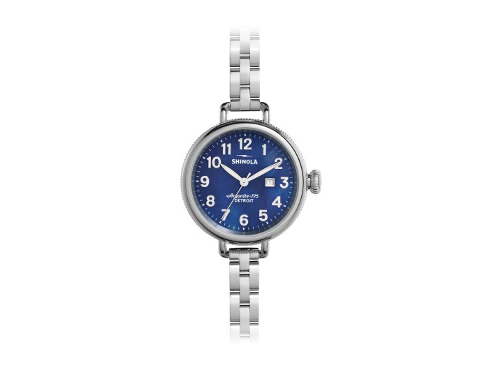 Shinola Birdy 34mm stainless steel bracelet watch.