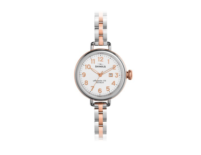 Shinola Birdy 34mm PVD rose gold finish and stainless steel bracelet watch.
