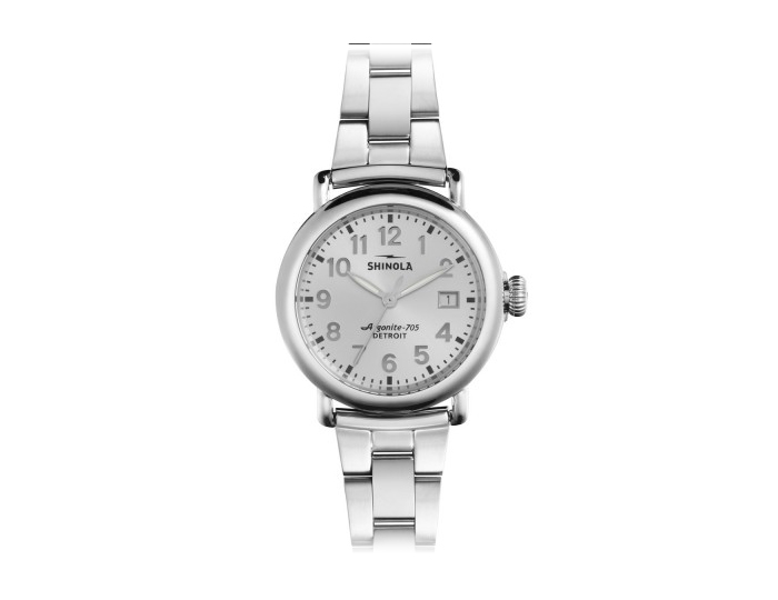Shinola Runwell 36mm stainless steel bracelet watch.