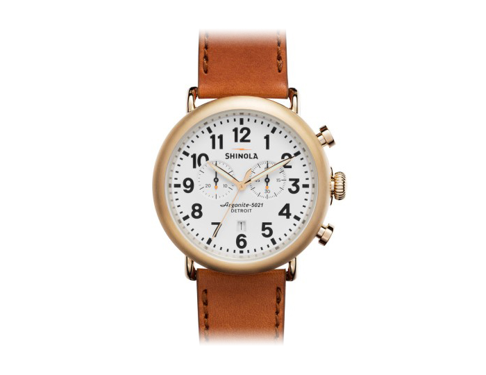 Shinola Runwell Chronograph 47mm PVD gold finish stainless steel leather strap watch.
